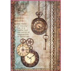 Stamperia - Rice Paper Sheet A4 - Clockwise Clock & Keys